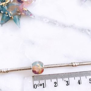 Fabric bead with 24 k gold foil