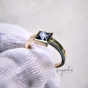Timeless Ring with genuine Mevisto Sapphire made with a loved one's ashes and/or hair